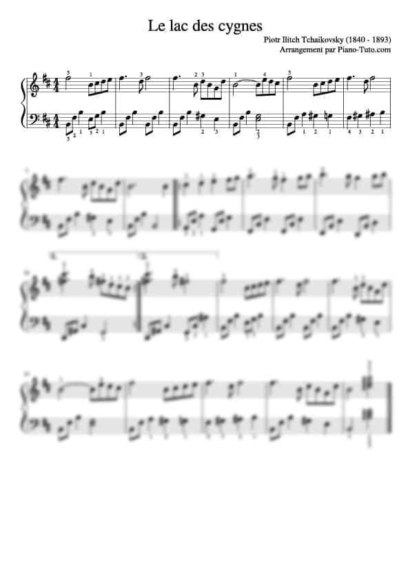 Piotr ilitch Tchaikovsky - Le lac des cygnes - Partition piano intermédiaire